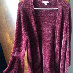 Cardigan w/Belle Sleeves, Burgundy, size Lg